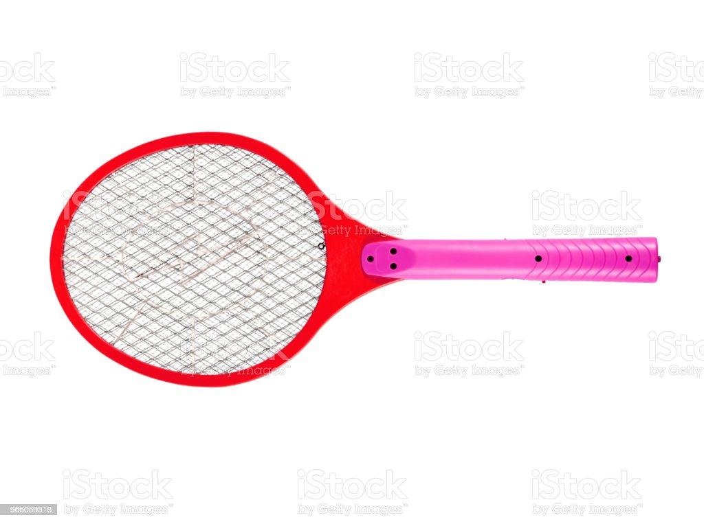 Mosquito doden racket op witte achtergrond - Royalty-free Batterij Stockfoto