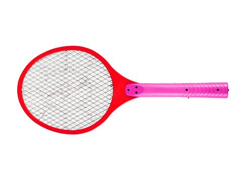 Mosquito Doden Racket Op Witte Achtergrond Stockfoto en meer beelden van Batterij