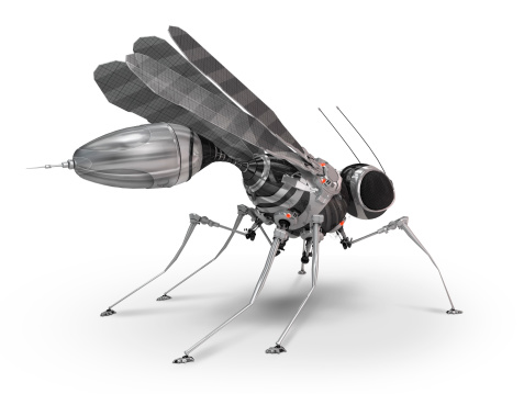 Robot mosquito, steel and chrome robot looks like insect.