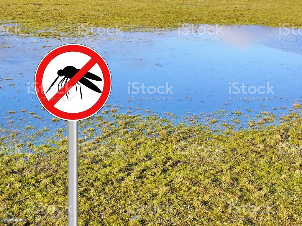 mosquito warning sign flood stock photo