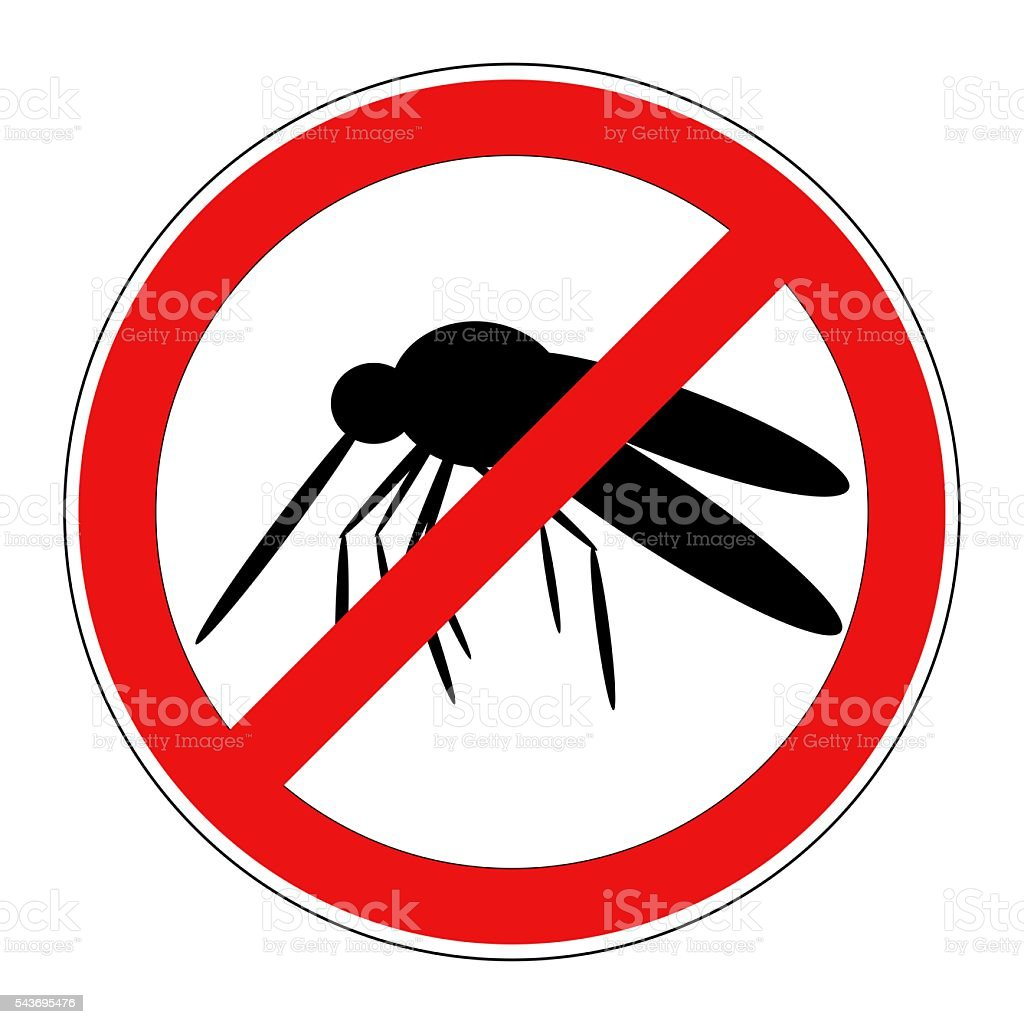 mosquito warning sign isolated stock photo