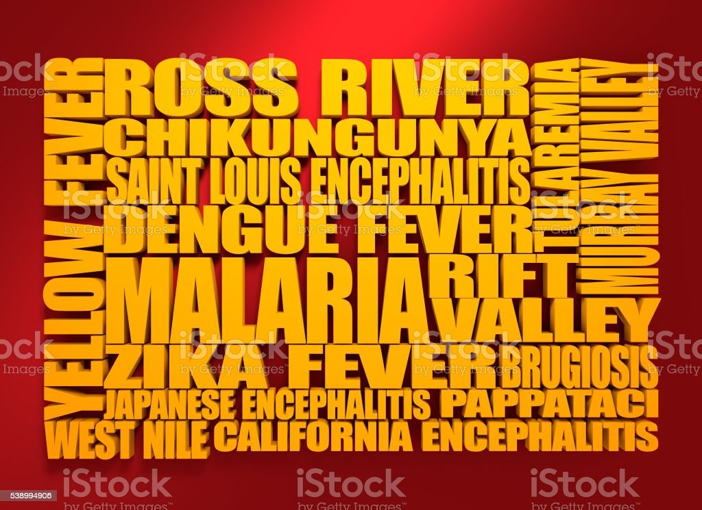 Mosquitoes transmitted diseases 3D list stock photo