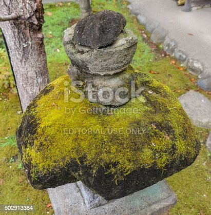 Kamakura, Japan - November 23, 2015: Moss covered rock found at the Engaku-Ji Temple. Engaku-ji, is one of the most important Zen Buddhist temple complexes in Japan.