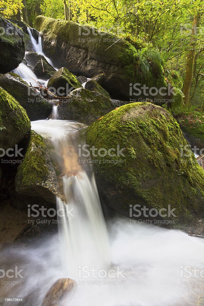 Moss covered rocks at Gertelsbacher Waterfalls, Black Forest, Germany royalty-free stock photo