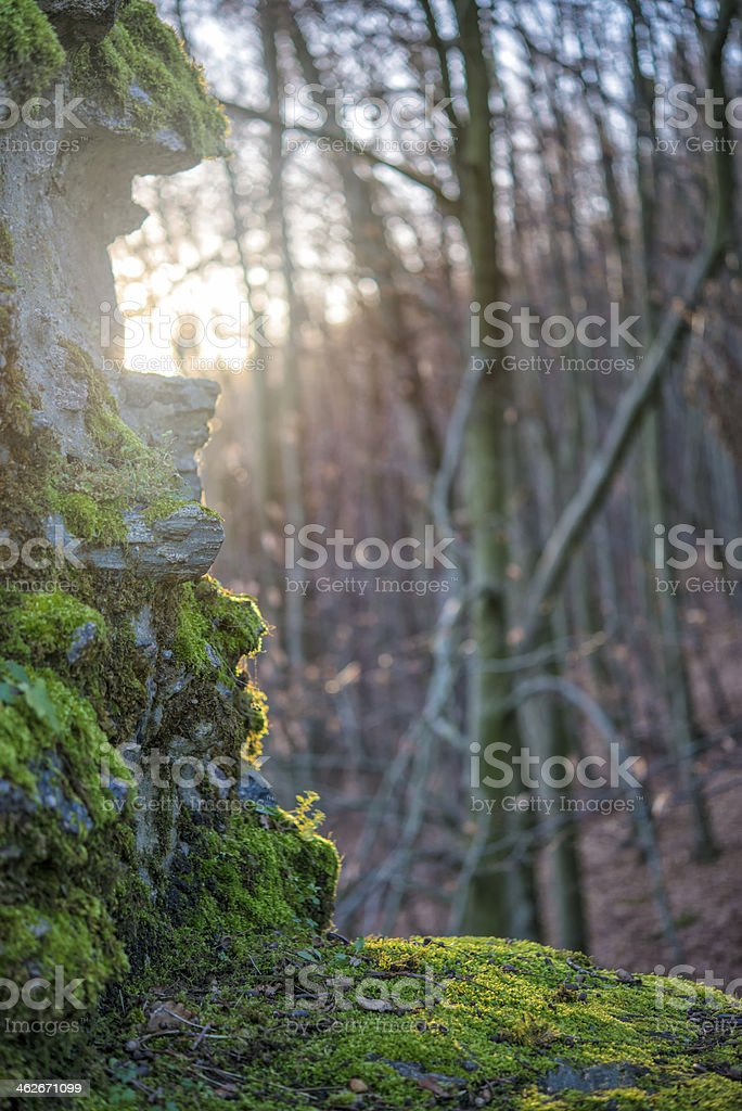 Moss covered stone wall royalty-free stock photo