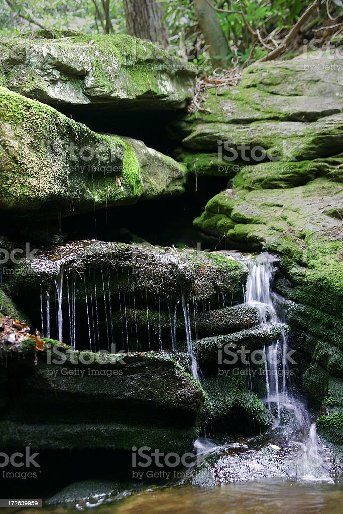 Moss covered Waterfall royalty-free stock photo