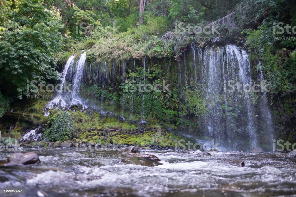 Mossbrae waterfalls from the ground stock photo