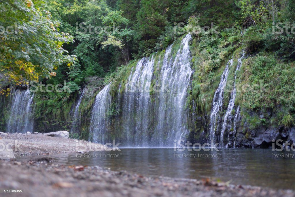 Mossbrae waterfalls from the ground - water in front stock photo