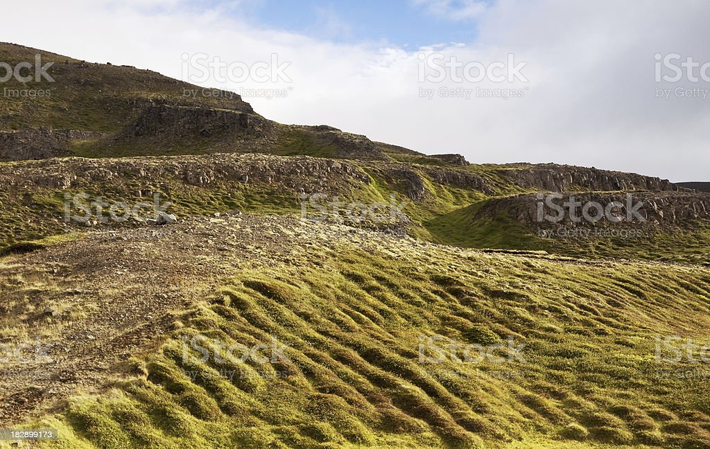 Mossy and rocky mountain side stock photo