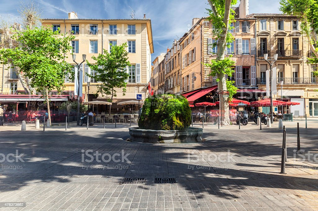Mossy fountain on the Cours Mirabeau in Aix en Provence stock photo