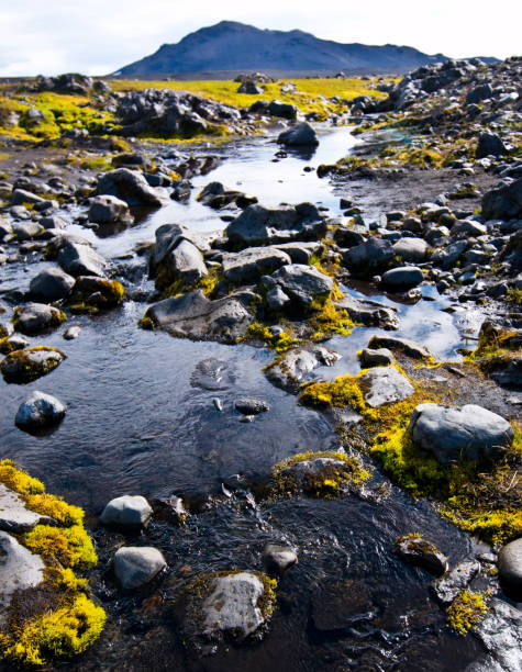 Mossy rock-filled river stock photo