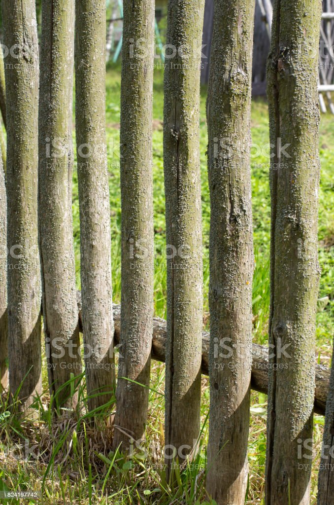 Mossy wooden fence in the cracks in the old Russian style stock photo