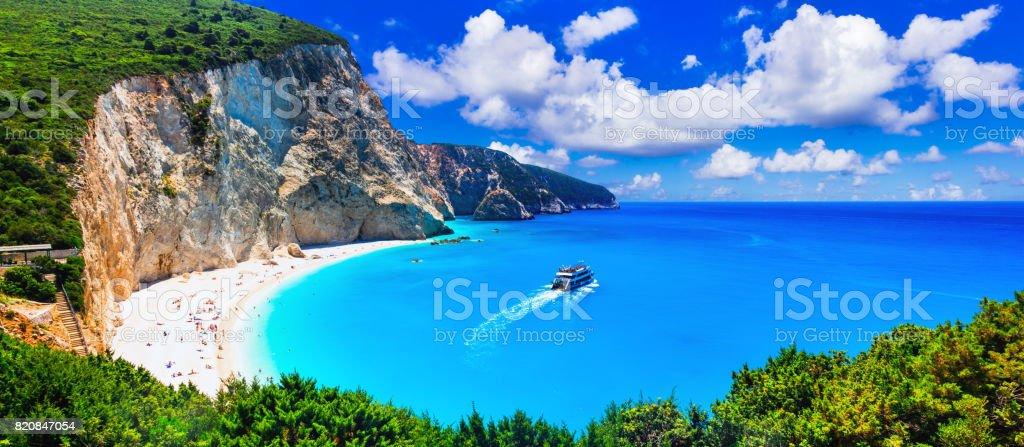 Most beautiful beaches of Greece series - Porto Katsiki in Lefkada, Ionian islands stock photo