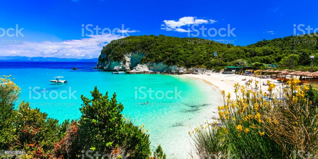 Most beautiful beaches of Greece - Vrika in Antipaxos island. stock photo