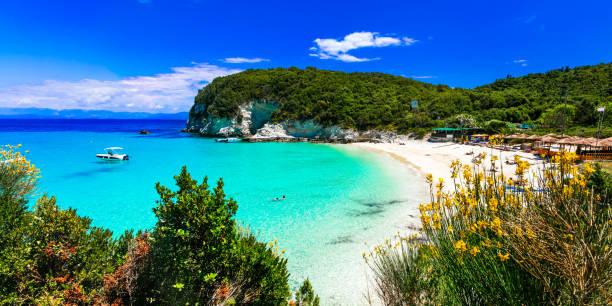 그리스-antipaxos 섬에 vrika의 가장 아름 다운 바닷가. - 이오니아 해 뉴스 사진 이미지