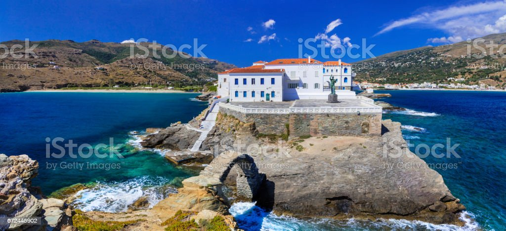 most beautiful Greek islands series  -Andros, view of Chora. Cyclades stock photo