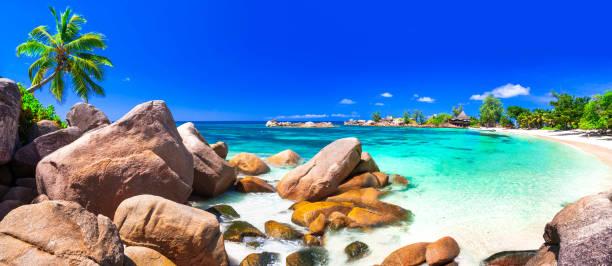 가장 아름 다운 열 대 해변-세이셸, 프레 슬 린 섬 - 세이셸 뉴스 사진 이미지