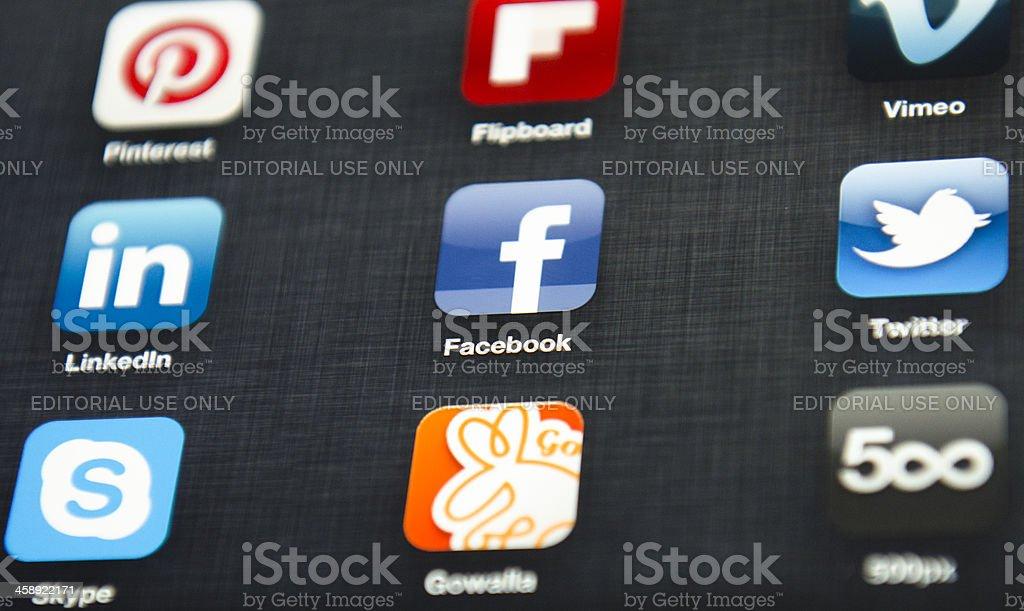 Most famous social media application on ipad 3 royalty-free stock photo