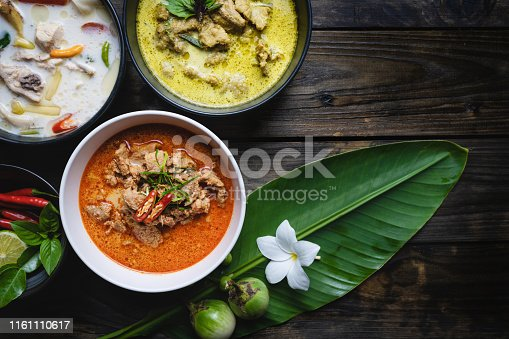 Most famous Thai foods; red curry pork, green curry pork, chicken coconut soup or Thai in names