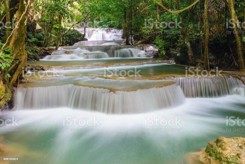 most favorite waterfall in Kanchanaburi stock photo