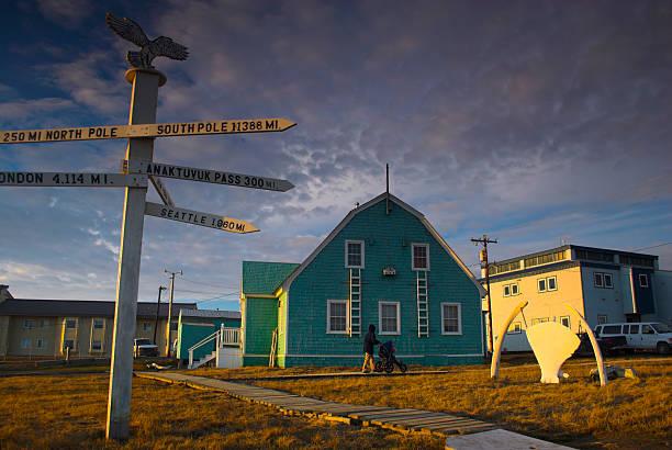 Most northern point in USA - Barrow, Alaska stock photo