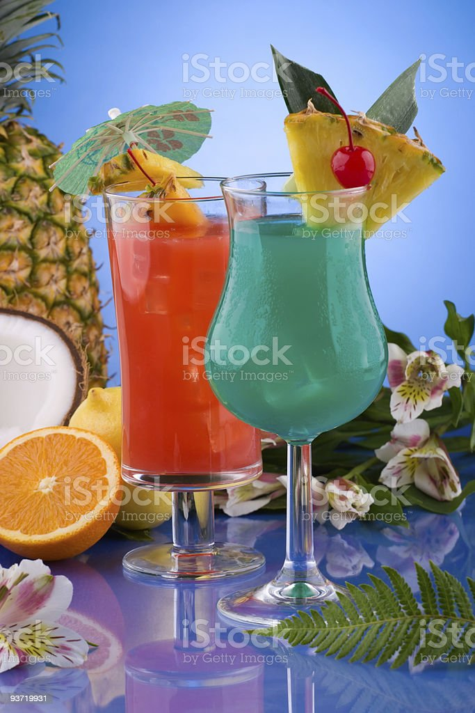 Most popular cocktails series - Blue Hawaiian and Hurricane stock photo