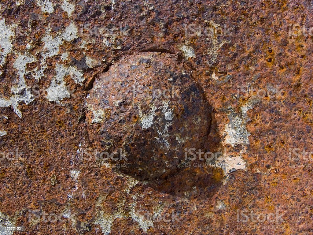 Most rusty rivet royalty-free stock photo