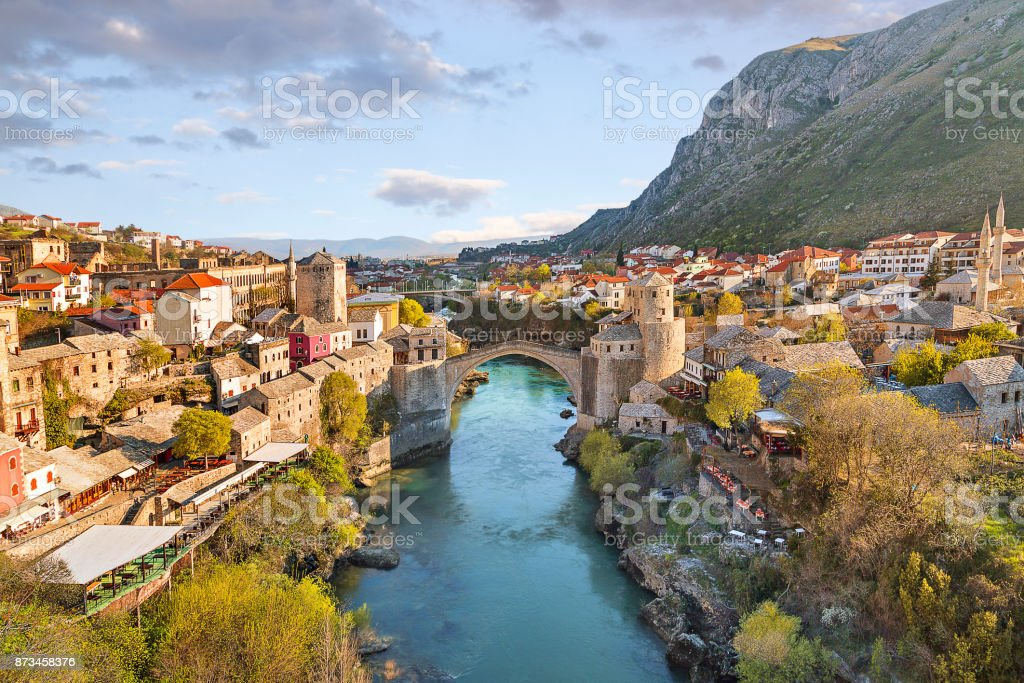 Mostar bridge in the town of Mostar in Bosnia and Herzegovina. stock photo