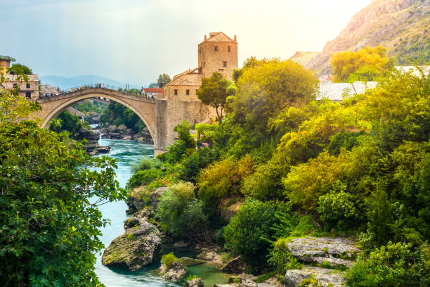 Mostar bridge Mostar bridge in Bosnia and Herzegovina. bosnia and hercegovina stock pictures, royalty-free photos & images