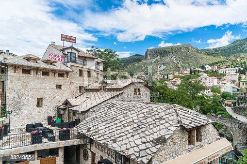 Stone buildings near famous Old bridge in Mostar , Bosnia and Herzegovina