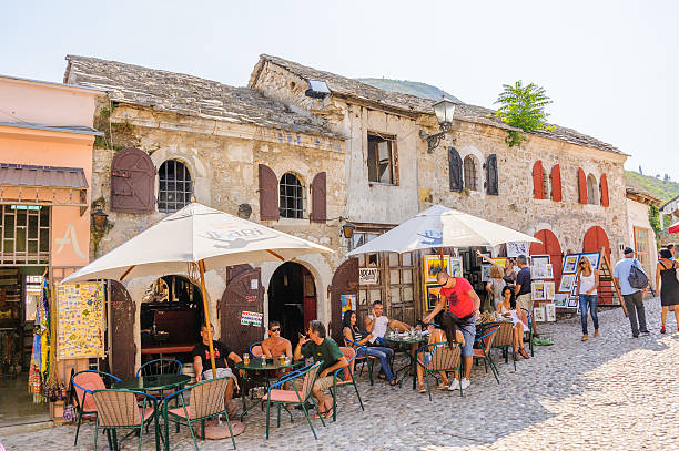 Mostar houses shops stock photo