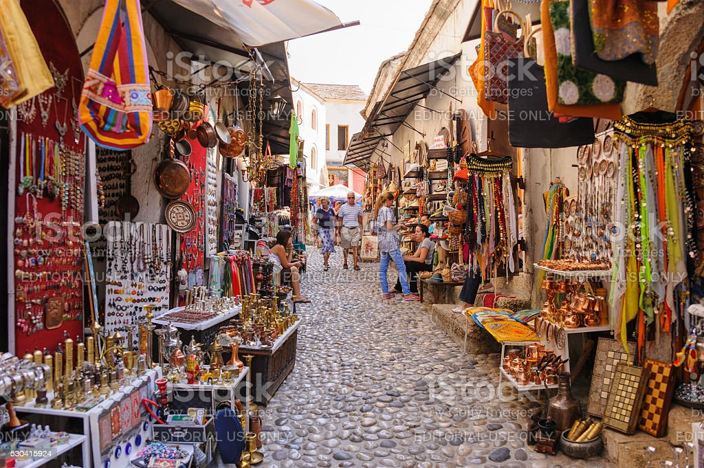 Mostar street market shops stock photo