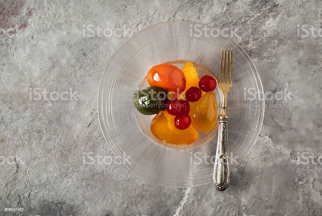 Mostarda. Northern Italian condiment made of candied fruit and a stock photo