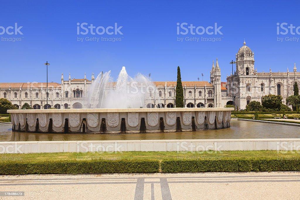 Mosteiro dos Jeronimos and big fountain royalty-free stock photo