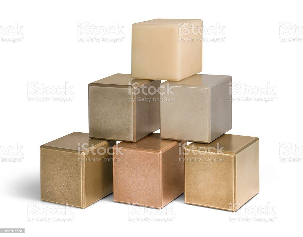 mostly metallic cubes stock photo