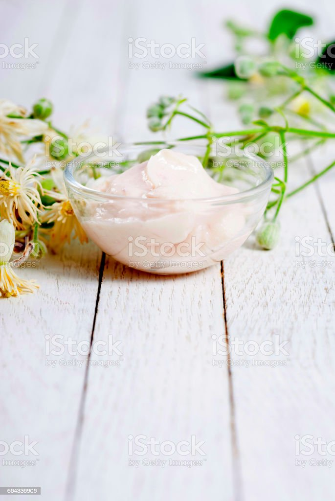 Mosturizer and herb stock photo
