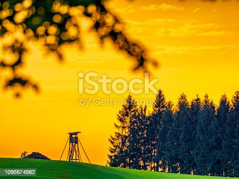 Countryside farmland and watch tower in the Mostviertel area of Austria
