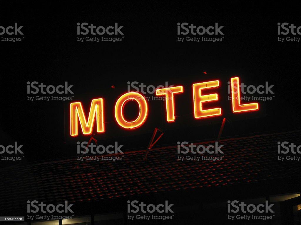 motel at night stock photo