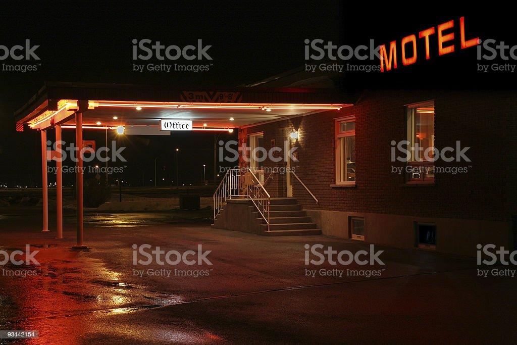 Motel entrance at night stock photo