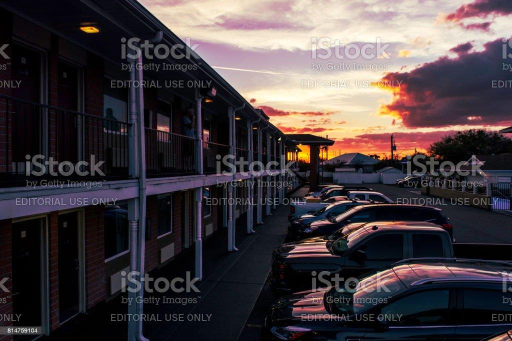 Motel in dusk stock photo