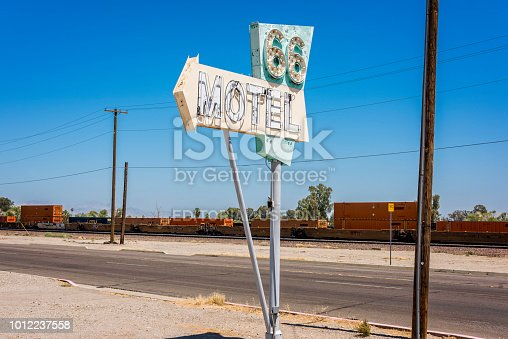 66 Motel, an independently owned six-room motel established 1946-47 in Needles, formerly served travellers on U.S. Route 66 in California. The tiny independent motel is one of numerous U.S. Route 66 businesses which had taken the name of the now-historic highway in its heyday.