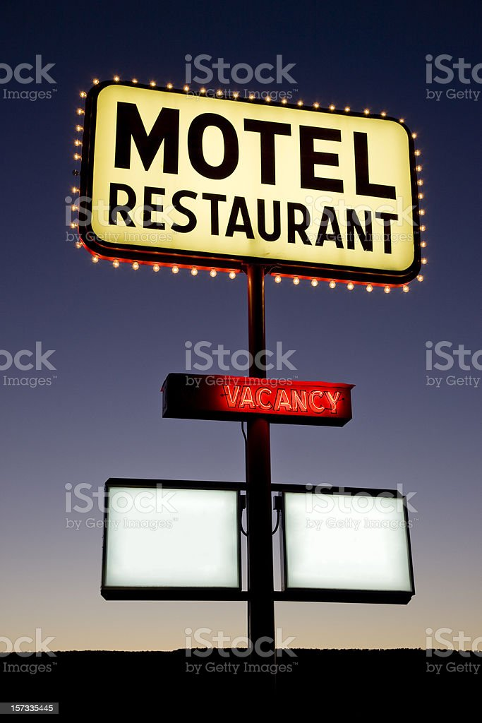 Motel Restaurant Sign Twilight Nevada USA royalty-free stock photo