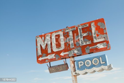 Sign is all that is left of a Route 66 motel. Horizontal shot.