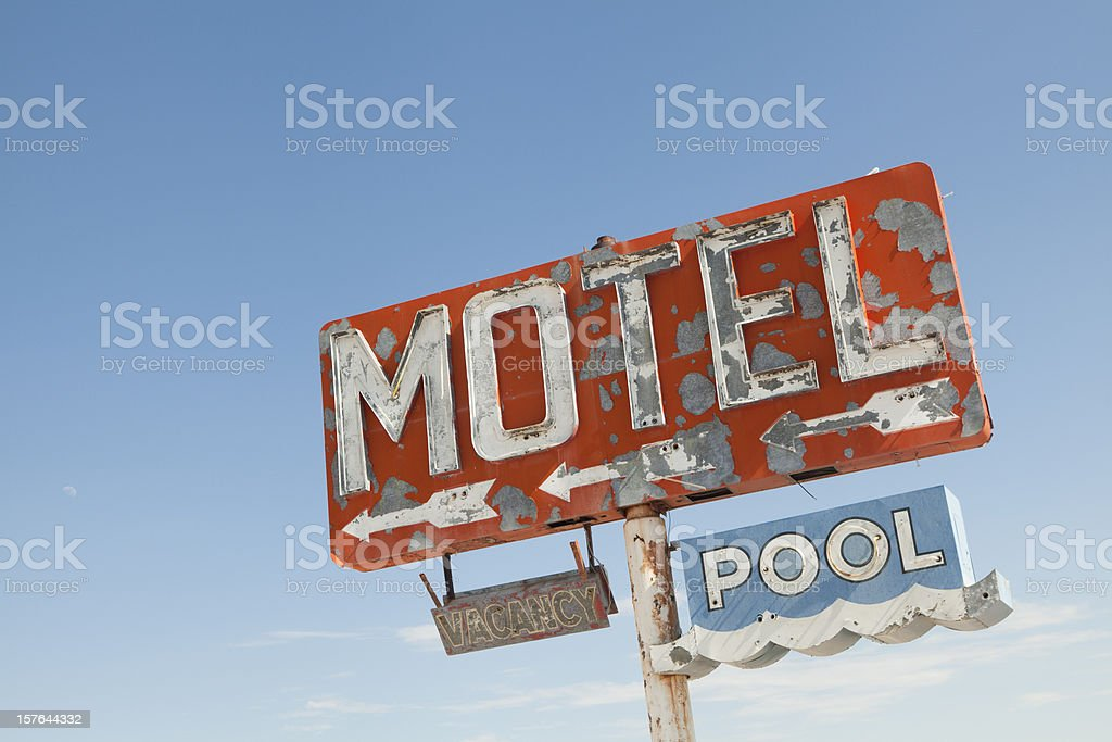 Motel Sign Along Historic Route 66, Retro, Nostalgia stock photo