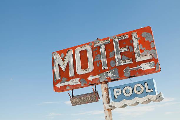 Motel Sign Along Historic Route 66, Retro, Nostalgia stock photo