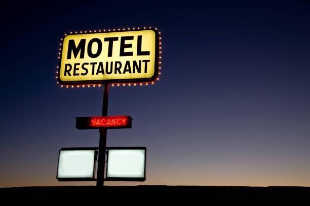Motel Sign at Twilight USA stock photo