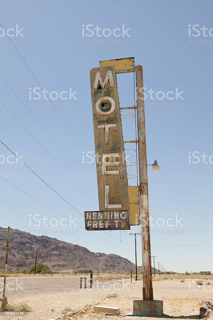Motel Sign on Route 66, Desert stock photo