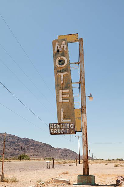 Motel Sign on Route 66, Desert stock photo