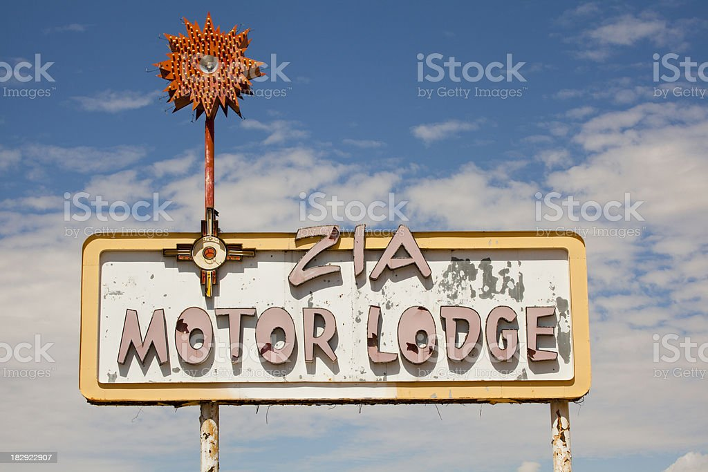 Motel Sign on Route 66, Southwest, Travel Destination royalty-free stock photo