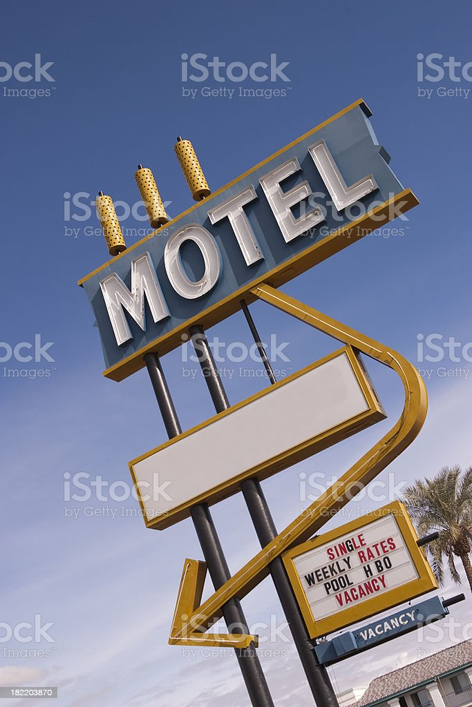 Motel Sign Ready For Your Message, Retro, Travel Background royalty-free stock photo